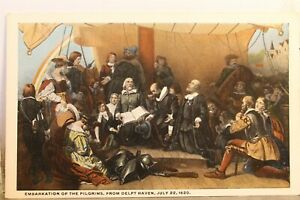 Art Delft Haven Embarkation of the Pilgrims Postcard Old Vintage Card View Post