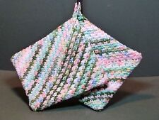 Double Thick Crocheted Hot Pad Pot Holder Pair - Tulip - green white pink blue
