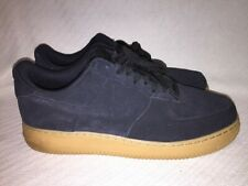 2015 Nike Air Force One Black Suede Gum Low Top Athletic Shoe 488298-098 Size 12