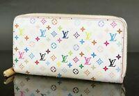 Auth LOUIS VUITTON Zippy Long Wallet White Multicolor Zippered Coin Purse #31752