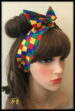 Lazo para el pelo Vincha Bandana Pañuelo multicolores banda de tela de cuadros Retro Discoteca