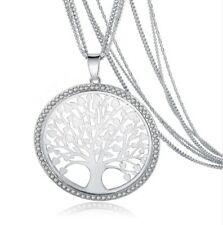 Collana lunga colore argento multifilo albero della vita circondato da strass
