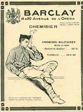 """Publicité Ancienne """" Mode Vêtement Chemise Militaire BARCLAY  1918 ( P 35 )"""