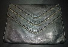 Black Moto Zipper Clutch Womens Purse Medium Faux Leather Evening Casual Stylish