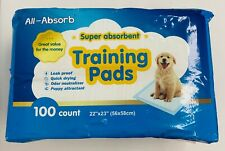 """All-Absorb 100 Count Super Absorbent Puppy Dog Pet Training Pads 22"""" x 23"""""""