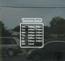 Business Hours Custom Window Door Glass Store Vinyl Decal Sign Sticker Style #7