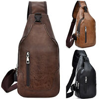 Mens Leather Shoulder Pack Messenger Sling Crossbody Handbag Travel Chest Bags