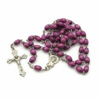 Vintage Silver Tone Purple Dyed Wooden Bead Rosary Made In Jerusalem