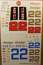 GOFER RACING BOBBY ALLISON #22 CHARGER DECALS FOR 1/24 and 1/25 SCALE MODEL CARS