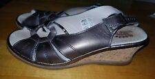 Spring Step EVE Metallic Bronze Leather Slingback Wedge Women Sandals 39, 8.5US