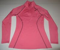 Womens Under Armour ColdGear Semi-Fitted 1/4 Zip Pullover SM Small Pink Athletic
