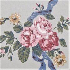 12sr Ribbons Rose Bouquet Stripe Handprinted Wallpaper