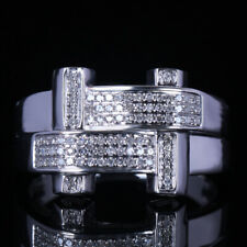 Mens Natural Diamond Engagement Wedding Jewelry Sterling Silver 925 Ring Gift