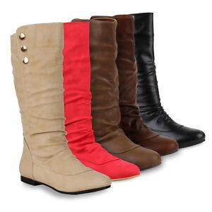Warm Gefütterte Damen Stiefel Flache Boots Schlupfstiefel 78857 Schuhe