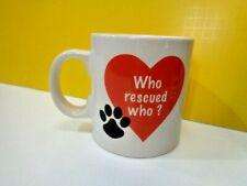 New listing New Jumbo 20 oz Who Rescued Who? �� Pawprint Coffee Mug Dog Cat Pet Lover