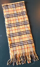 "Burberry Scarf-London-Plaid-51 x 11.5""-Tan-Winter Wear-Classic Check Fringe Soft"