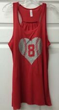 Baseball Heart Monogram Flowy Bella Tank Top Initials Number Glitter Baseball