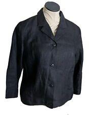 Talbots women's 100% Irish linen button front shirt collar black 6 jacket
