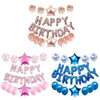 Happy First Birthday Balloons Set 1 Year old Baby Boy Girl 1st Party Decors