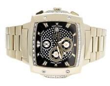 Mens Aqua Master 51MM S.Steel Square Black Dial Diamond Watch W#354 0.28 Ct