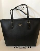 Coach - City Zip Tote in Crossgrain Leather (Black) [F58846]