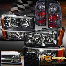 BLACK 2003-2006 Chevy Silverado 1500 2500 2500HD Headlights + SMOKE Tail Light