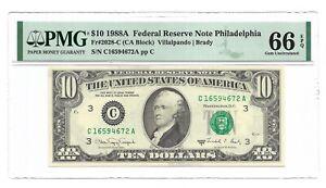 1988A $10 PHILADELPHIA FRN, PMG GEM UNCIRCULATED 66 EPQ BANKNOTE