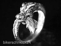 Drachenkopf Ring Silberschmuck 925 Silber Drache Damen Herren Biker Geschenk NEU