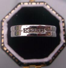 Women's Vintage 9ct Oro Bianco Diamante Fede Nuziale Taglia J 1/2 w1.35g timbrato