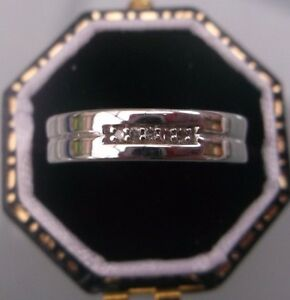 Women's Vintage 9ct White Gold Diamond Wedding Ring Size J 1/2  W1.35g Stamped