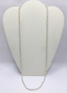 4mm Modern Italian Oval Bead Chain Necklace 30 1/4 In Sterling Silver Italy 925
