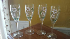 Gorgeous Set Of 4 Floral Enameled Pierre Jouet French Champagne Glasses. 7 1/2""