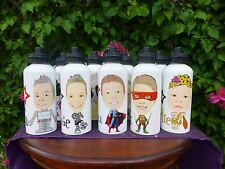 Personalised CARICATURE water drink bottle YOUR PHOTO  ideal for FOOTBALL teams