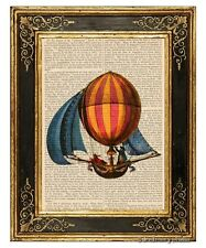 Hot Air Balloon Sailing Ship Art Print on Vintage Book Page Nursery Decor