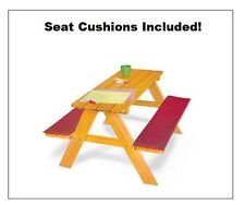 Childs Wood Picnic Table with Seat Cushions Kids Children's Outdoor Furniture