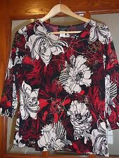 Woman's Brittany Black Red Petite Large Red Christmas Colors Knit Top