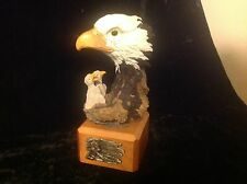 Bald Eagle Nest and Chicks figurine on wood base, Wisdom of the Wild Collection