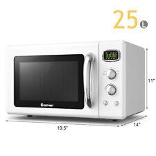 0.9Cu.ft. Retro Countertop Mini Microwave Oven 900W 8 Cooking Set White
