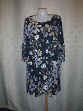 Angle 3/4 Sleeve Dress XXL LC Lauren Conrad Navy Floral print 94% rayon 6% spand