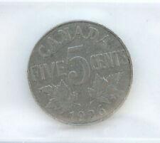 1926 George V 5 Cents Nickel CAN • Far 6 • Grade VG-10