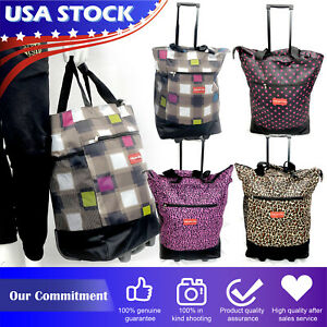 """19"""" Rolling Wheeled Duffle Trolley Bag Travel Tote Carry On Suitcase Luggage"""