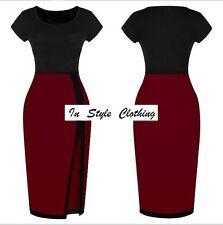 """""""TRISH"""" LADIES GORGEOUS SIZE 10 WINE RED BLACK COLOUR BLOCK STRETCH PENCIL DRESS"""