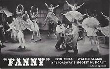 "Ezio Pinza ""FANNY"" Florence Henderson / Walter Slezak / Harold Rome '54 Postcard"
