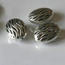 2 Perles Métal  Amandes   PLAQUE ARGENT     9X13X18 mm