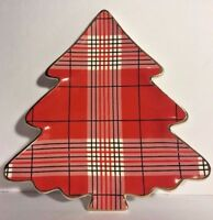 Magenta Christmas Tree Plaid Plate Small Platter Checkered Gray Red White New