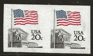 US Scott #1895d, Imperf Pair 1981 Flag 20c VF MNH