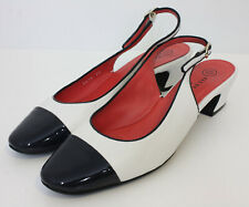Pas De Rouge Womens Eloe 1696 White Leather And Black Patent Leather Heels Sz 40