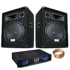"15"" INCH PA SPEAKERS DJ EQUIPMENT 2000W AMPLIFIER 2U USB SD MP3 10m CABLE SET"