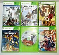 XBOX 360 (6) Game Lot Assassin's Creed 3 & 4, Crackdown 2, Army of Two 40th Day