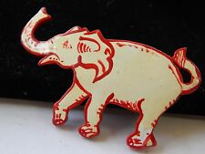 Vintage 1960s Tropical Wood Souvenir Hand Painted White Red Elephant Brooch Pin